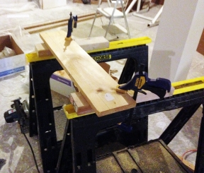 Clamped pine boards