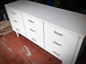 White Mid-century Modern Dresser with Silver Handles