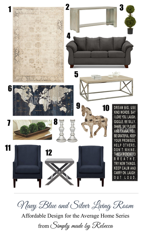 Navy Blue And Silver Living Room Simply Made By Rebecca