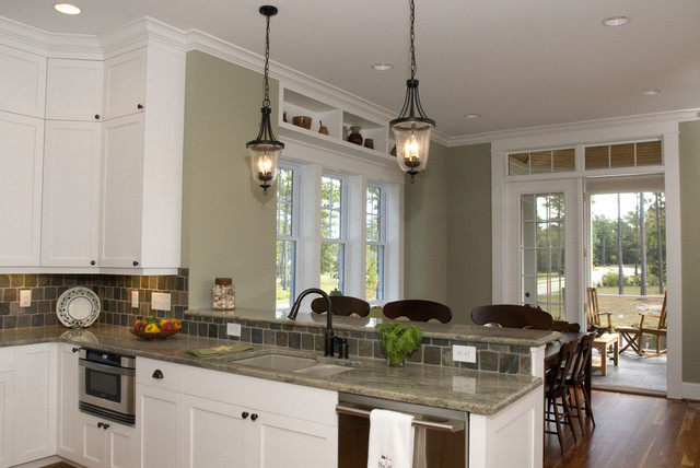 Image result for painted kitchen cabinets + carpeted living room
