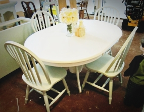 White table with duck egg blue chairs