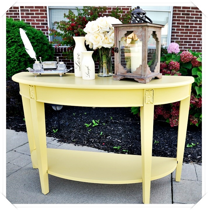 Yellow console table 1 simply made by rebecca for Sofa table yellow