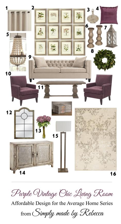 Purple Vintage Chic Living Room