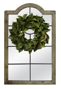Windowpane mirror and Wreath